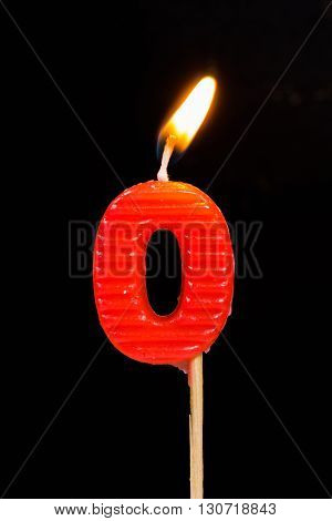The Birthday anniversary candles showing Number. 0