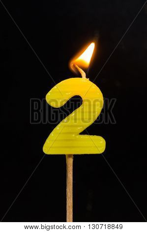 The Birthday anniversary candles showing Number. 2