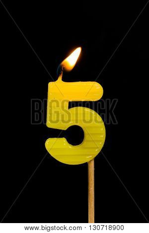 The Birthday anniversary candles showing Number. 5
