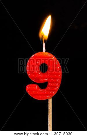 The Birthday anniversary candles showing Number. 9