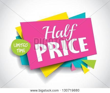 Half Price Sale concept vector banner. sale layout design. Vector illustration.