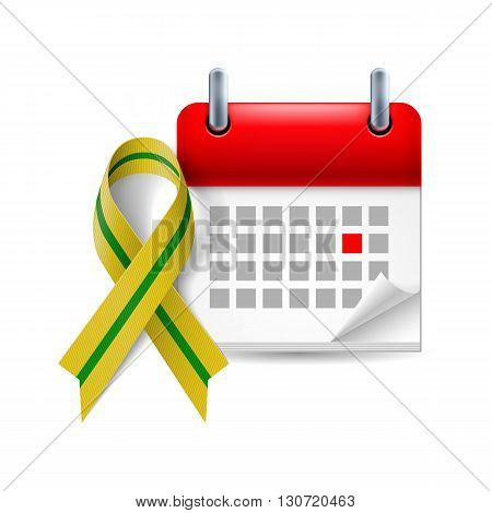 Olive-green awareness ribbon and calendar with marked day. Anniversary of liberation of Leningrad from the Nazi block during World War II