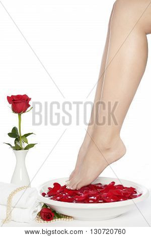 Well groomed female legs with red rose petals and a pedicure bowl on a white background.