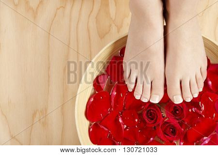 Well groomed female feet shot on the wood background with red roses.