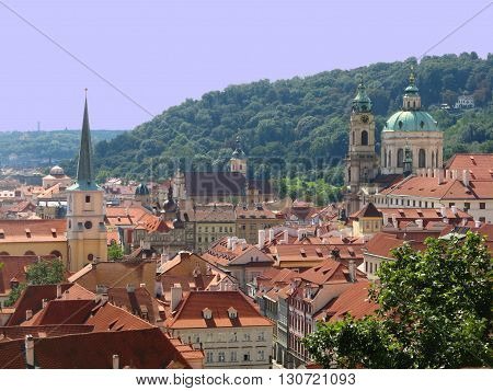 Terracotta rooftops of the old city of Prague