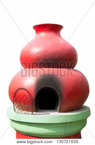red gourd Furnaces for burning paper money and gold Chinese . On a white background