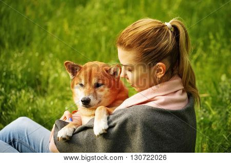 Girl hugging dog Shiba Inu in Spring Park. Walking with a pet. Pedigree dog. Walking dogs.