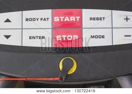 Start and stop The adjustment of the exercise machine.