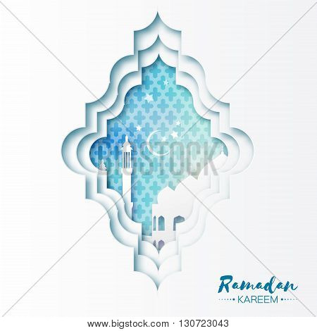 Blue White Origami Mosque Window Ramadan Kareem Greeting card with arabic arabesque pattern. Holy month of muslim. Symbol of Islam. Crescent Moon Ramadan.