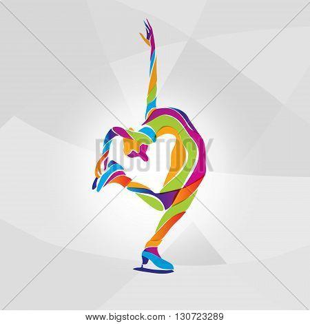 Vector illustration of cartoon skating girl. Ladies figure skating. Color vector figure ice skating silhouette
