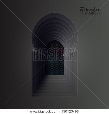 Dark Origami Mosque Window Ramadan Kareem Greeting card with arabic arabesque pattern. Holy month of muslim. Symbol of Islam. Moon Ramadan. Applique Vector illustration.
