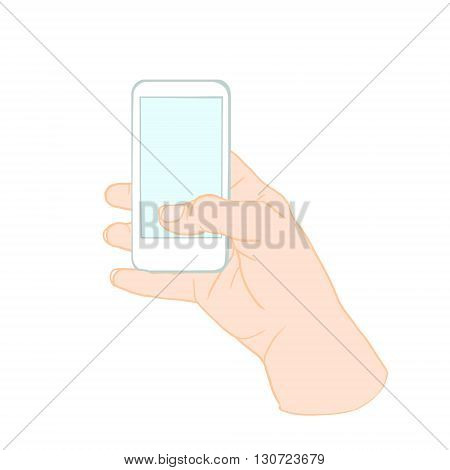 Hand Holding Mobile, arm with cell, color drawing hand with mobile phone