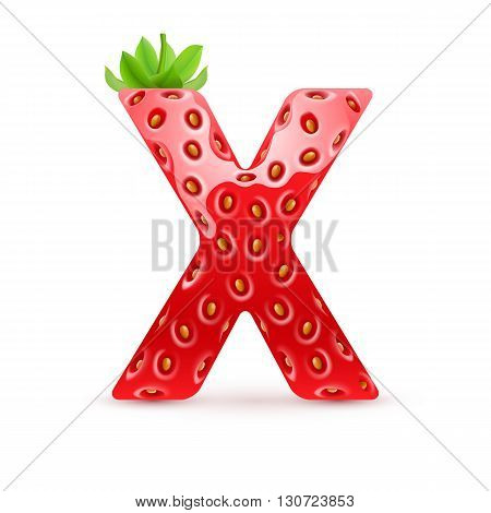 Letter X in strawberry style with green leaves
