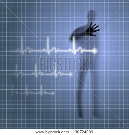 Mysterious medical background with human silhouette and cardiogram line