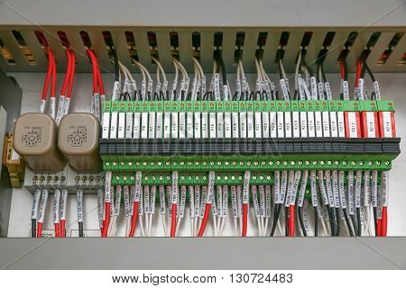 Electrical control wire system in cabinet for machine