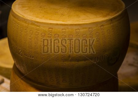A whole wheel of Parmesan Reggiano cheese