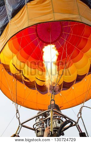 Prepping A hot air balloon for flight