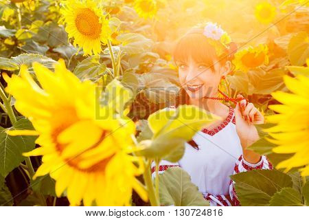 Beautiful young woman in national ukrainian blouse embrodery looking to camera on a sunflower field at sunset backlight.