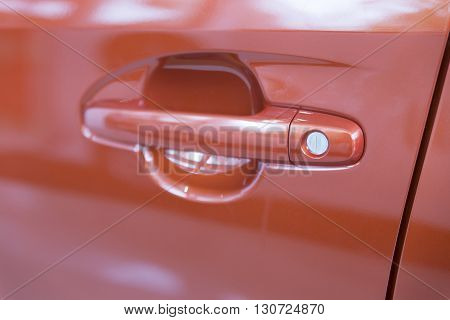 Door Handle Of New Orange Car