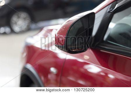 Rear Mirror Of Red Car