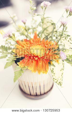 Bouquet Of Blooming Orange Gerbera