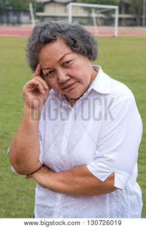 Asian Old Woman Thinking Action