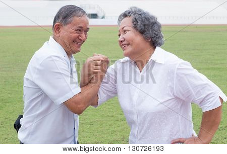 Asian Olman And Woman Acting Action