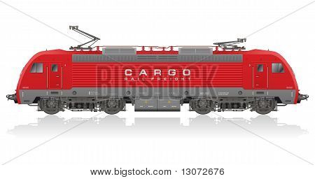 Red modern electric locomotive