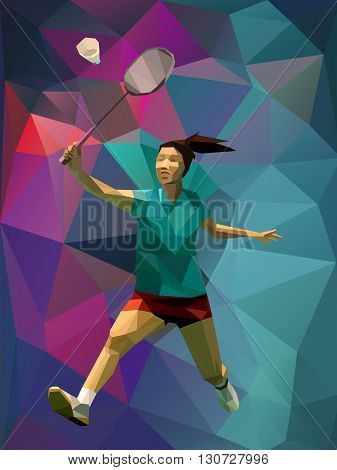 Unusual colorful triangle background. Geometric polygonal professional female badminton player on colorful back