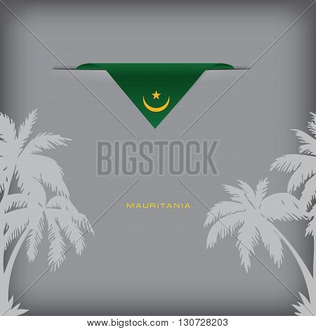 Banner Mauritania with the national symbols of the country and the colors of the flag.