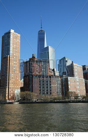 NEW YORK - APRIL 17, 2016: Lower Manhattan skyline panorama. Freedom Tower is the tallest building in the Western Hemisphere and the third-tallest building in the world