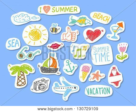 Sticker with shadows on blue background with funny doodle summer sketches
