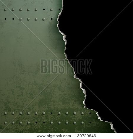 Background of torn metal with rivets. Stock vector illustration.