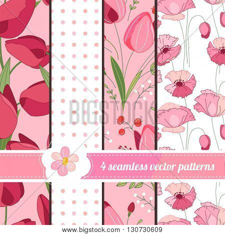 Collection of seamless red and pink patterns with stylized flowers. Endless texture for floral and romantic design, announcements, greeting cards, posters, advertisement.