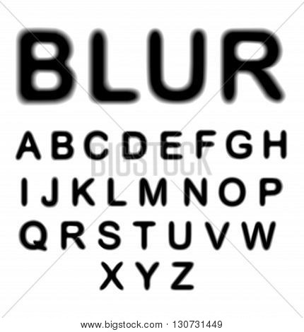Blurred alphabet, upper case letters collection isolated
