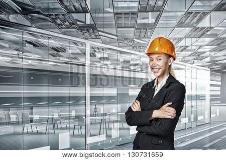 Engineer woman in interior