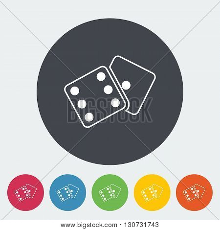 Craps. Single flat icon on the circle button. Vector illustration.