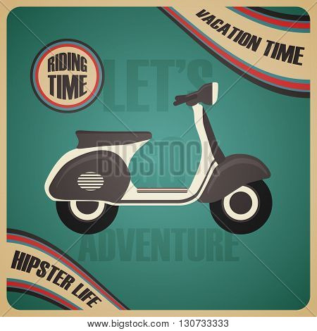 the vintage scooter poster vacation time, pastel style