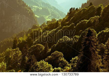 Swiss Alps - snow capped mountains and deep valleys stunning view breath-taking panorama