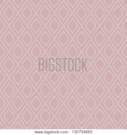 Geometric repeating vector purple and white ornament with diagonal dotted lines. Seamless abstract modern pattern