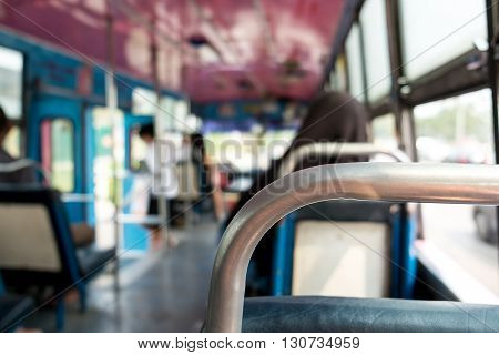 View from inside the bangkok bus with passengers.Thailand Defocus background.