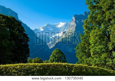 Swiss Alps - snow capped mountains and deep valleys stunning view breath-taking panorama,Grindelwald