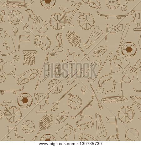 Seamless pattern on the theme of summer sports simple icons brown contour on a beige background