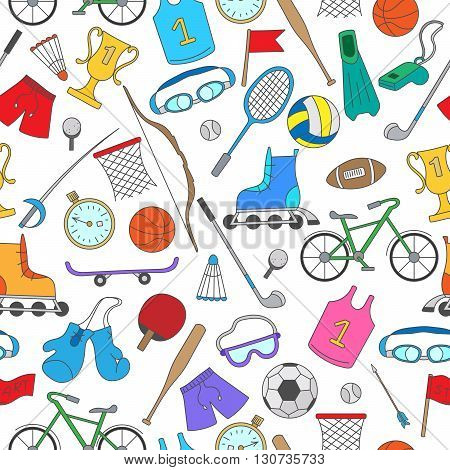Seamless pattern on the theme of summer sports simple colorful icons on a light background