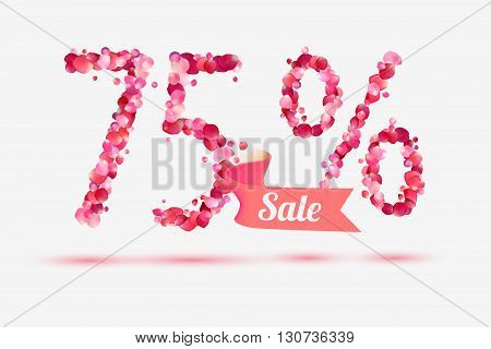 seventy five (75) percents sale. Vector digits of pink rose petals