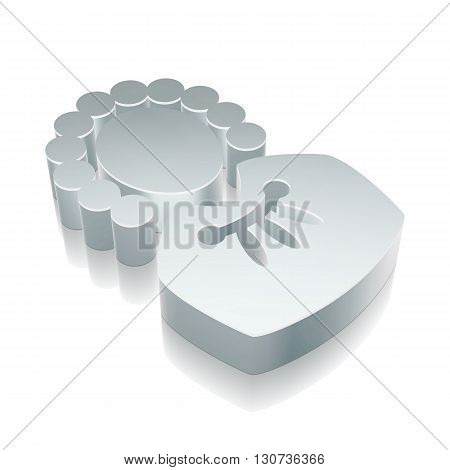 Law icon: 3d metallic Judge with reflection on White background, EPS 10 vector illustration.