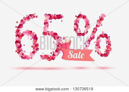 sixty five (65) percents sale. Vector digits of pink rose petals