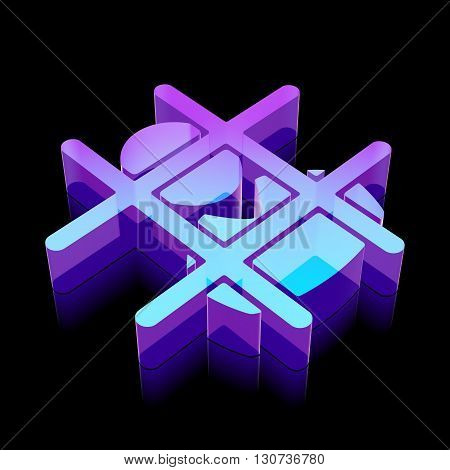 Law icon: 3d neon glowing Criminal made of glass with reflection on Black background, EPS 10 vector illustration.