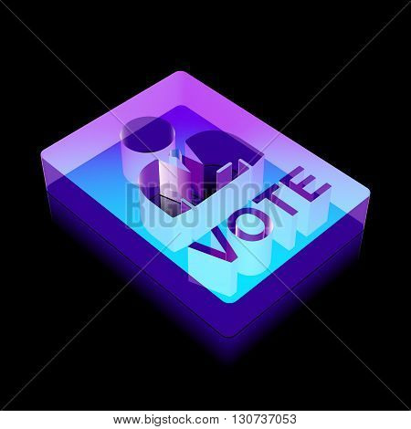 Politics icon: 3d neon glowing Ballot made of glass with reflection on Black background, EPS 10 vector illustration.