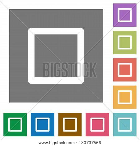 Media stop flat icon set on color square background.